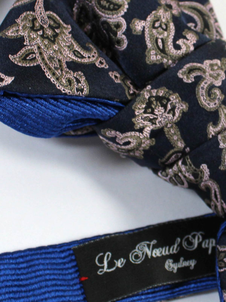 Le Noeud Papillon Bow Tie Midnight Blue Pink Olive Paisley - Self Tie
