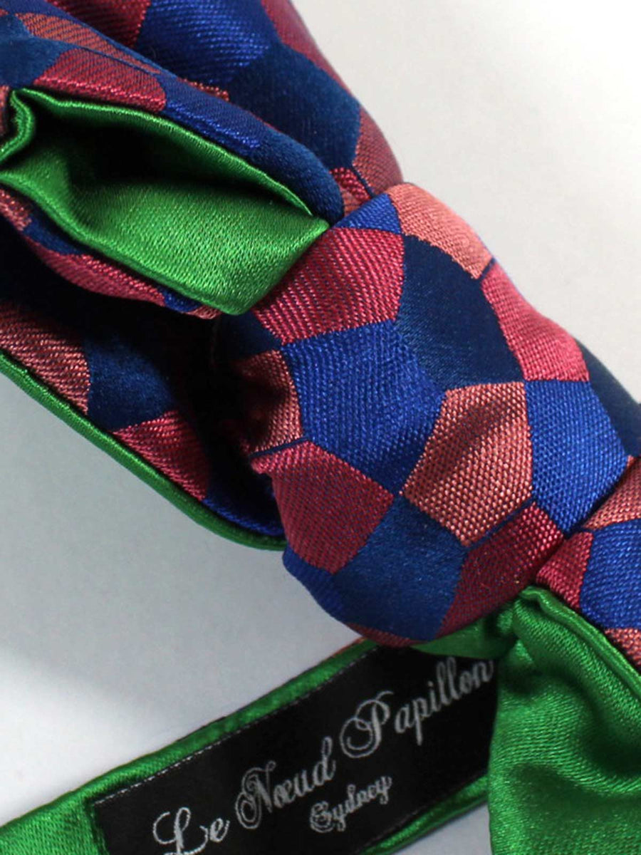 Le Noeud Papillon Bow Tie Pink Royal Blue Hexagon - Self Tie