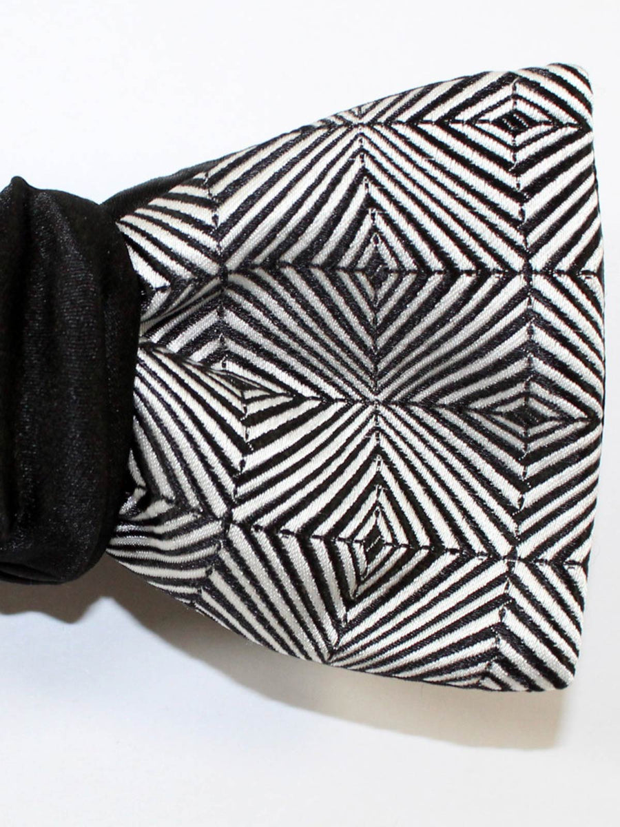 Silk Black Silver Geometric Bow Tie Self Tie Butterfly