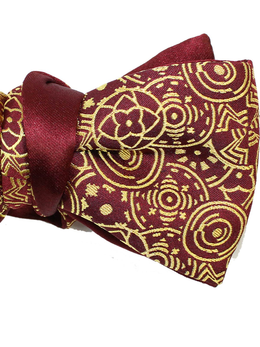 Le Noeud Papillon Bow Tie Maroon Gold Geometric Self Tie Butterfly
