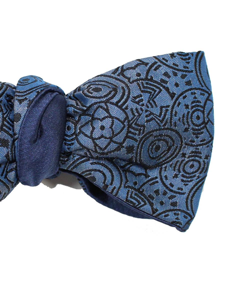 Le Noeud Papillon Silk Bow Tie Midnight Blue Geometric Self Tie Butterfly