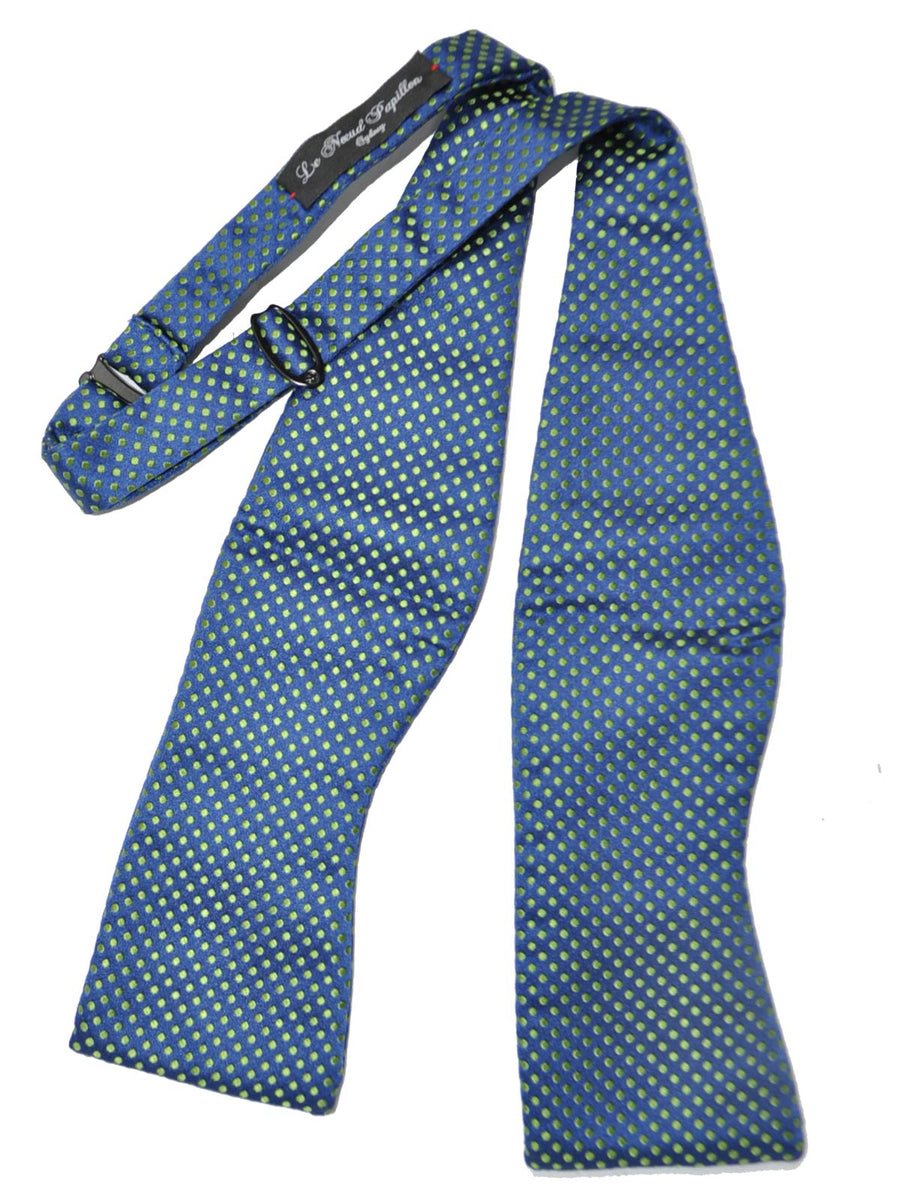 Le Noeud Papillon Silk Bow Tie Royal Blue Lime Dots