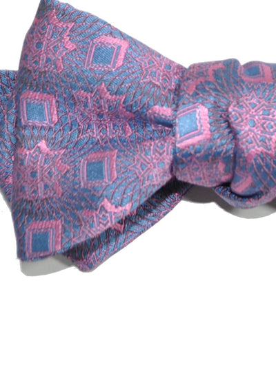 Silk Bow Tie Blue Pink Diamond Point
