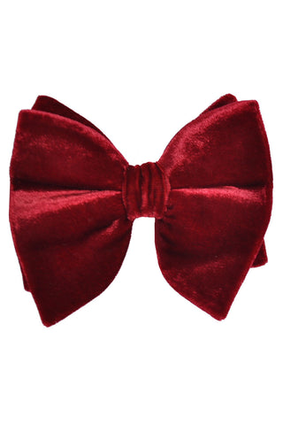 Le Noeud Papillon Bow Tie Large Butterfly Velvet Burgundy Red