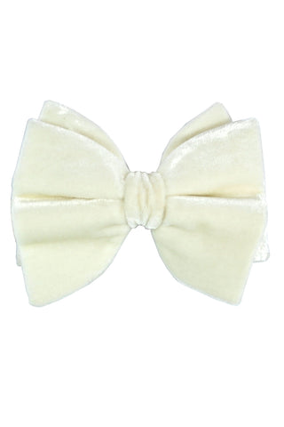Le Noeud Papillon Bow Tie Large Butterfly Velvet Ivory White