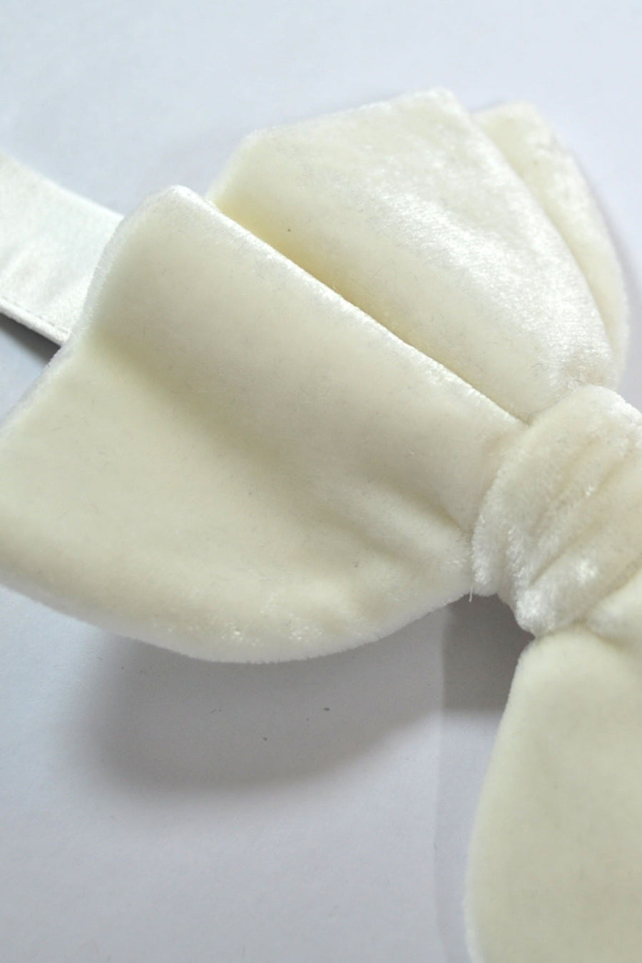 Bow Tie Large Butterfly Velvet Ivory White