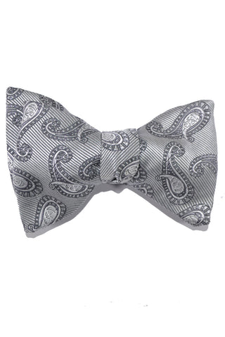 Le Noeud Papillon Bow Tie Gray Paisley Large Butterfly SALE