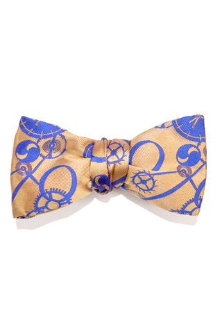 Le Noeud Papillon Bow Tie Taupe-Gold Royal Blue Clocks Diamond Point