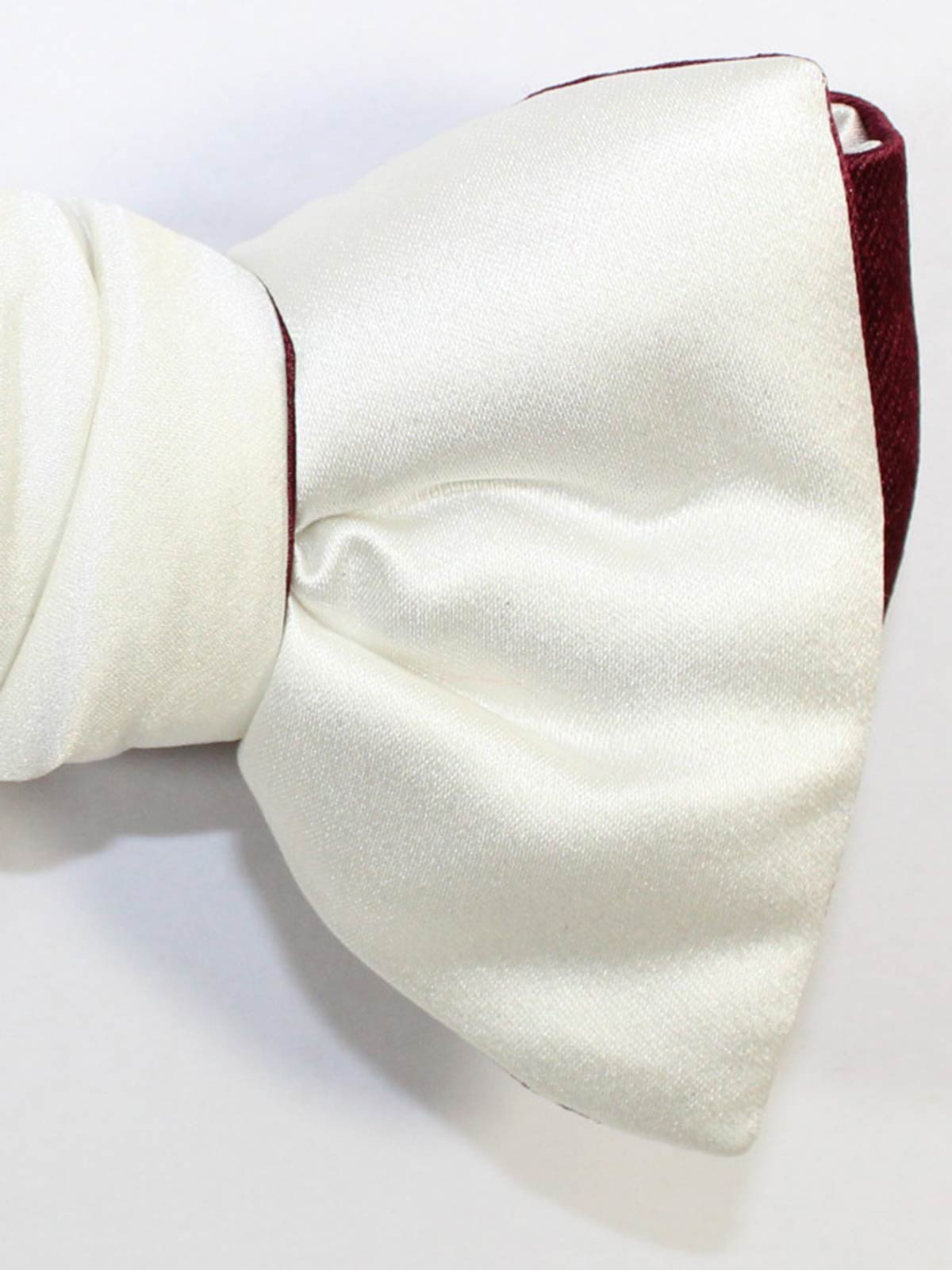 Le Noeud Papillon Bow Tie White Maroon Solid Large Butterfly - Self Tie