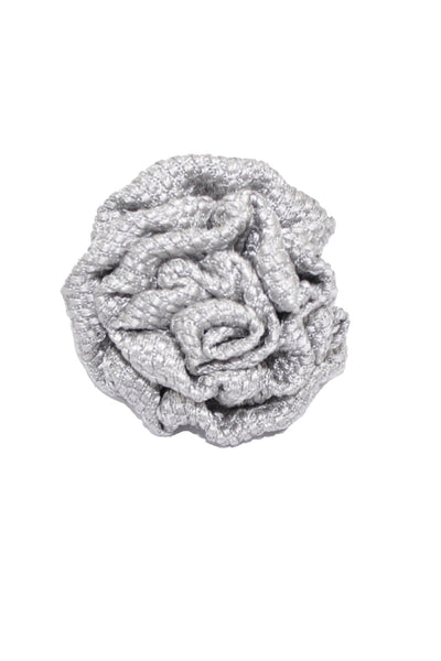 Le Noeud Papillon Silk Lapel Flower Gray Silver