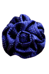 Le Noeud Papillon Silk Lapel Flower Navy Silver