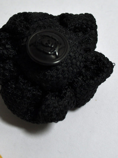 Le Noeud Papillon Silk Lapel Flower Black