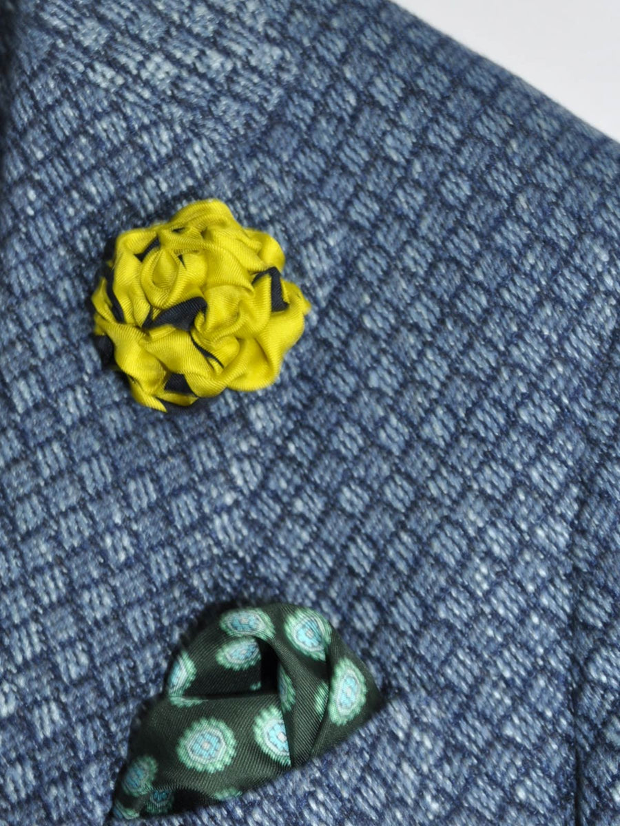 Le Noeud Papillon Lapel Flower Lime Navy
