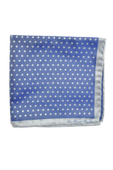 Le Noeud Papillon Silk Pocket Square Dark Blue Gray Polka Dots FINAL SALE