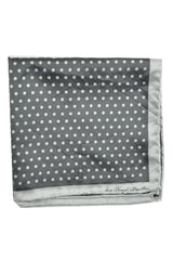 Le Noeud Papillon Silk Pocket Square Gray Polka Dots FINAL SALE