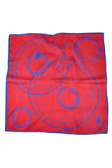 Le Noeud Papillon Silk Pocket Square Red Navy FINAL SALE