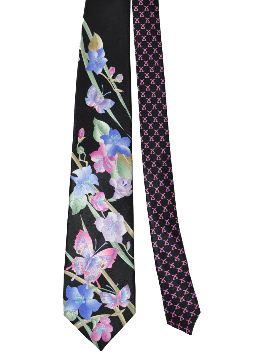 Leonard Tie Black Pink Orange Lilac Floral
