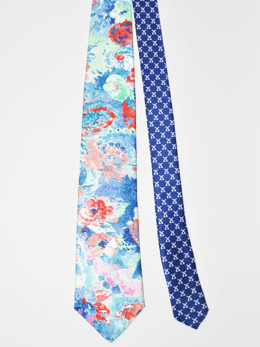 Leonard Tie Blue Pink Red Orange Floral