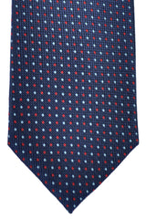 Marinella Tie Dark Navy Blue Blue Red Squares