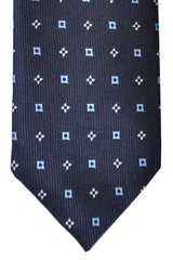 Marinella Tie Black Sky Blue Silver Geometric