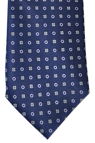Marinella Tie Navy Silver Geometric Flowers & Circles