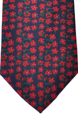E. Marinella Tie Navy Red Green Floral Design - Wide Necktie