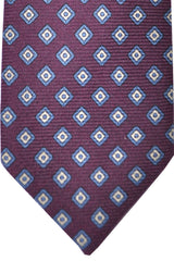 E. Marinella Tie Purple Blue Geometric Design - Wide Necktie