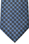 E. Marinella Tie Brown Black Metallic Blue Geometric Design - Wide Necktie