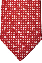 E. Marinella Tie Burgundy White Geometric Design - Wide Necktie