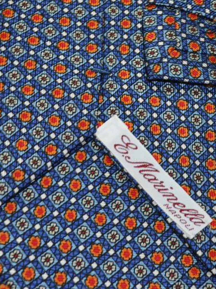 E. Marinella Tie Navy Red Orange Geometric - Wide Necktie