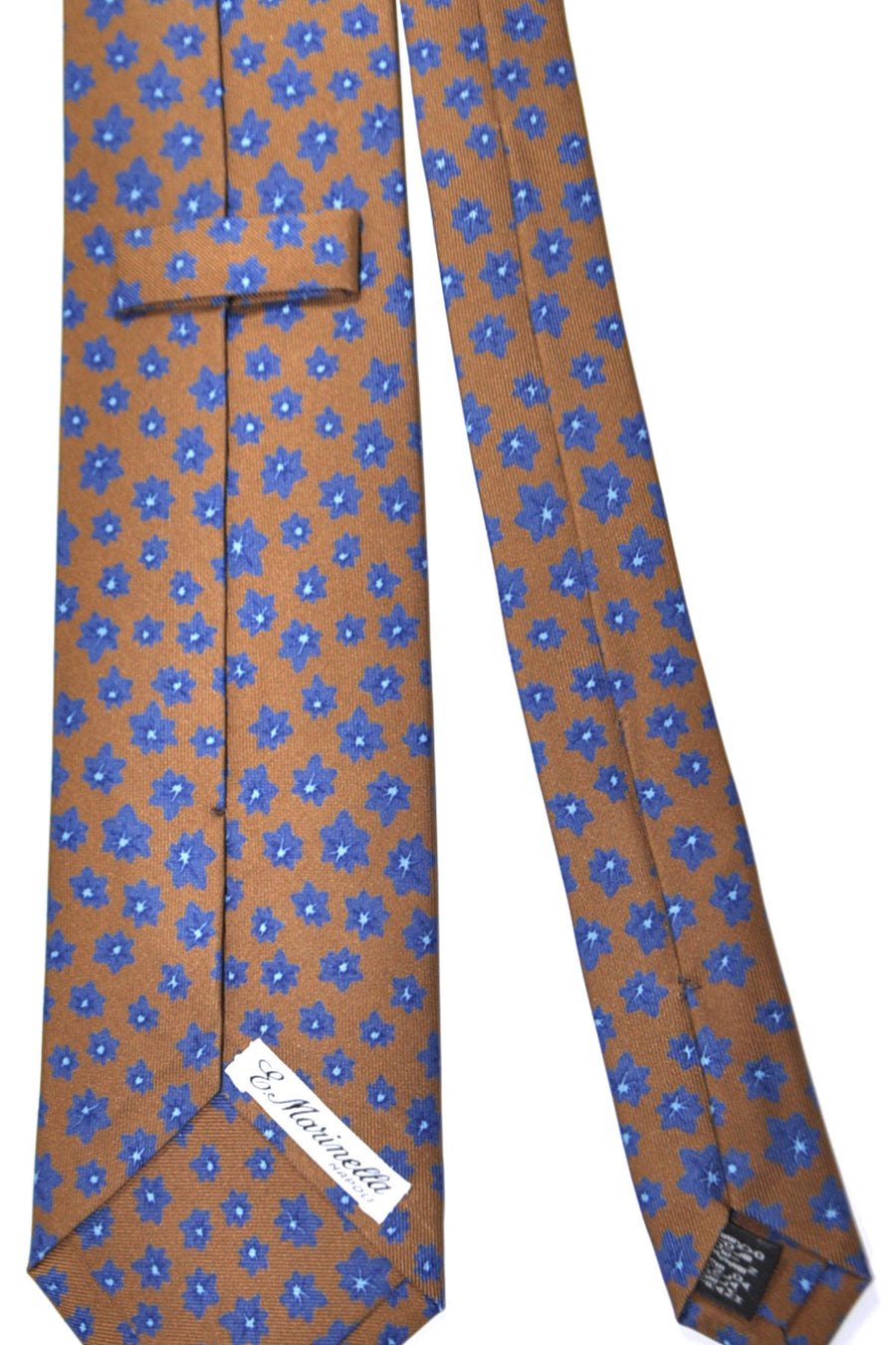 E. Marinella Tie Brown Navy Floral Design - Wide Necktie