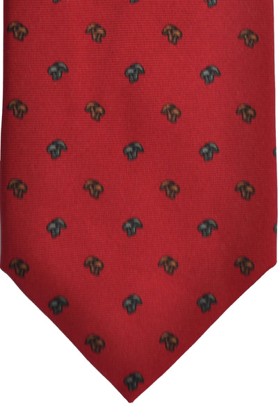 E. Marinella Tie Dark Red Mushrooms Design - Wide Necktie