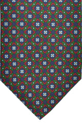 E. Marinella Tie Green Navy Red Geometric Floral Design - Wide Necktie