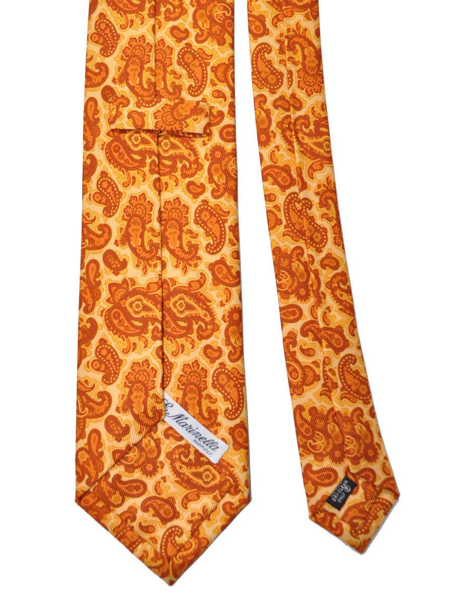 E. Marinella Tie Cream Brown Paisley Design - Wide Necktie
