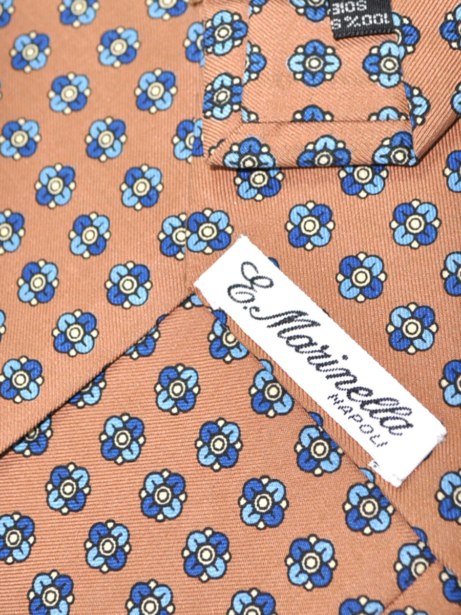 E. Marinella Tie Brown Navy Blue Geometric - Wide Necktie