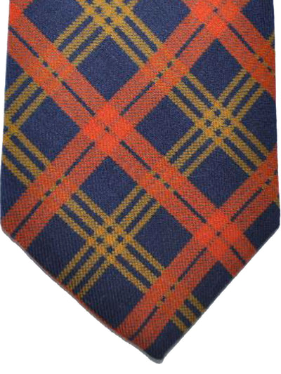 E. Marinella Tie Navy Orange Mustard Plaid Design - Wide Necktie