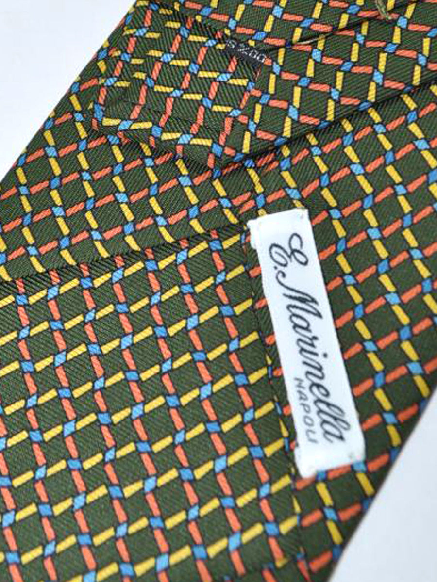 E. Marinella Tie Green Multicolored Geometric Design - Wide Necktie