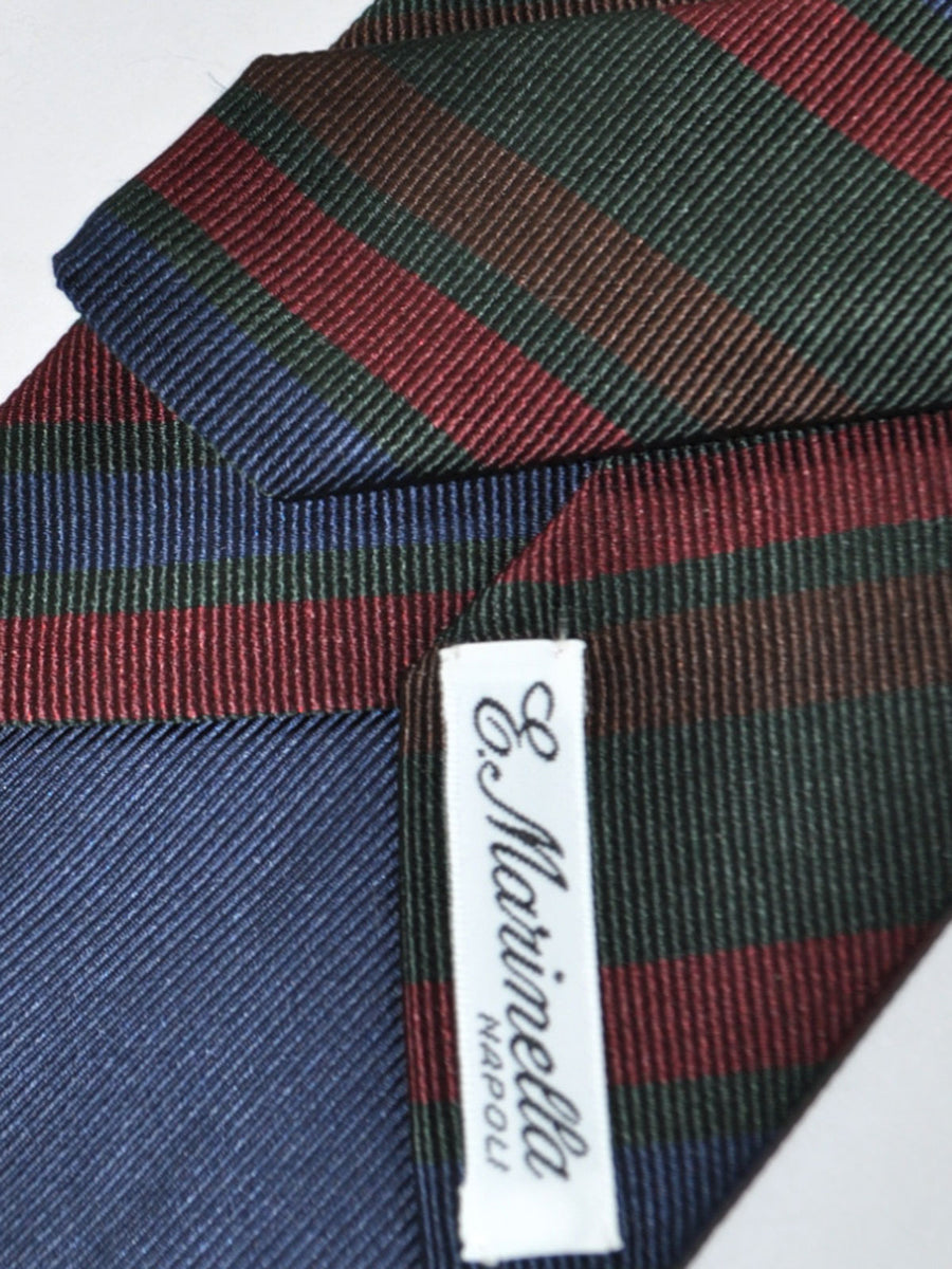 E. Marinella Tie Dark Green Maroon Navy Stripes Design - Wide Necktie