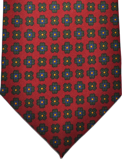 E. Marinella Tie Burgundy Green Medallion Design - Wide Necktie