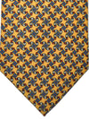 E. Marinella Tie Yellow Navy Red Grosgrain Floral Design - Wide Necktie