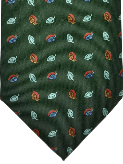 E. Marinella Tie Green Grosgrain Leaves Design - Wide Necktie