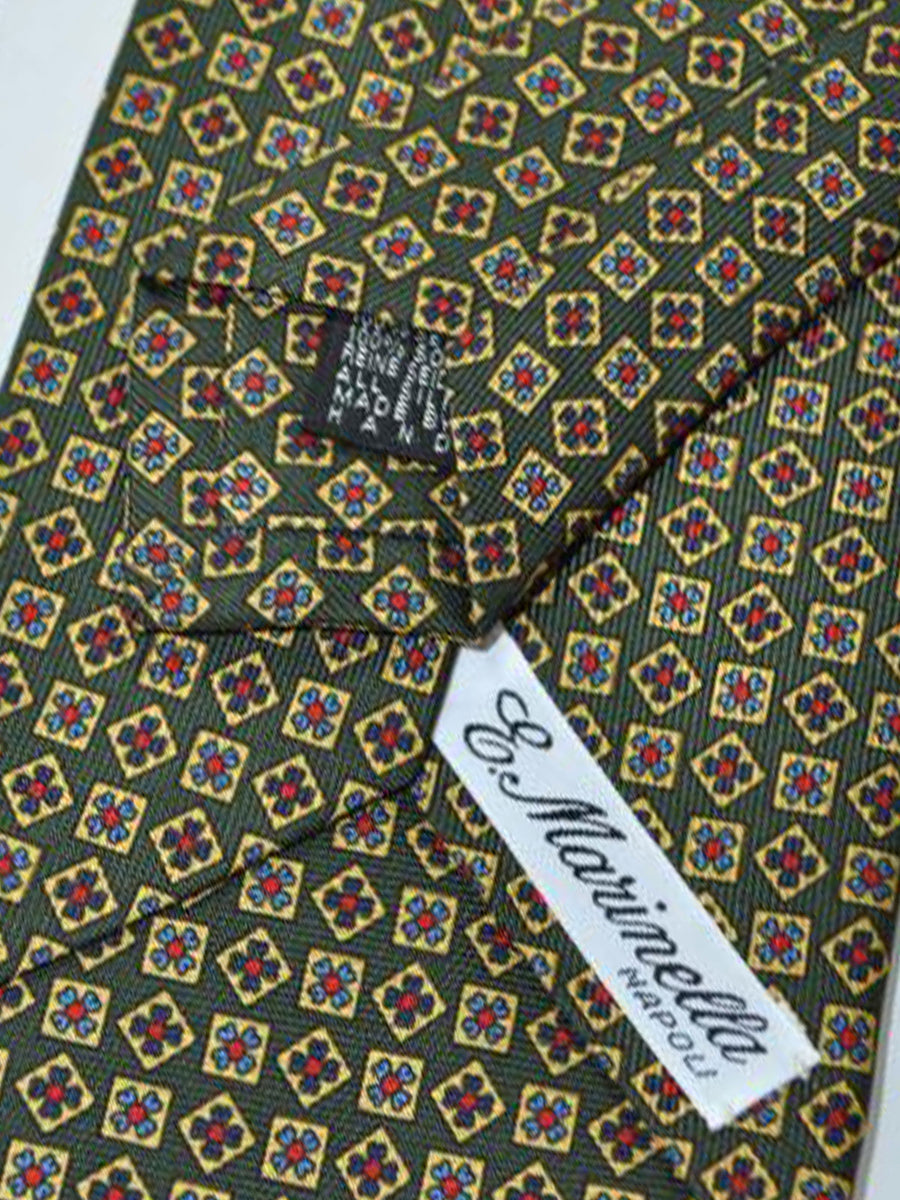 E. Marinella Tie Green Yellow Gold Geometric Grosgrain Design - Wide Necktie