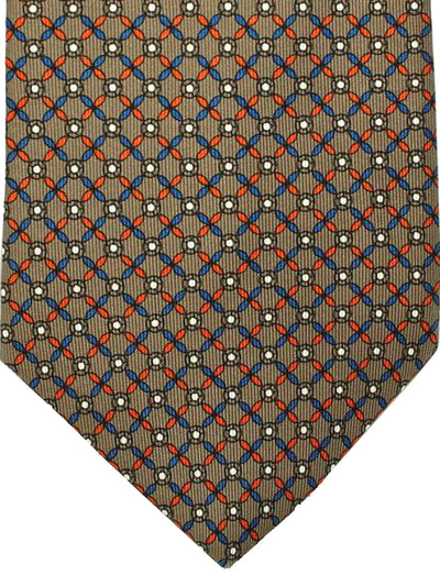 E. Marinella Tie Taupe Navy Orange Geometric Design - Wide Necktie