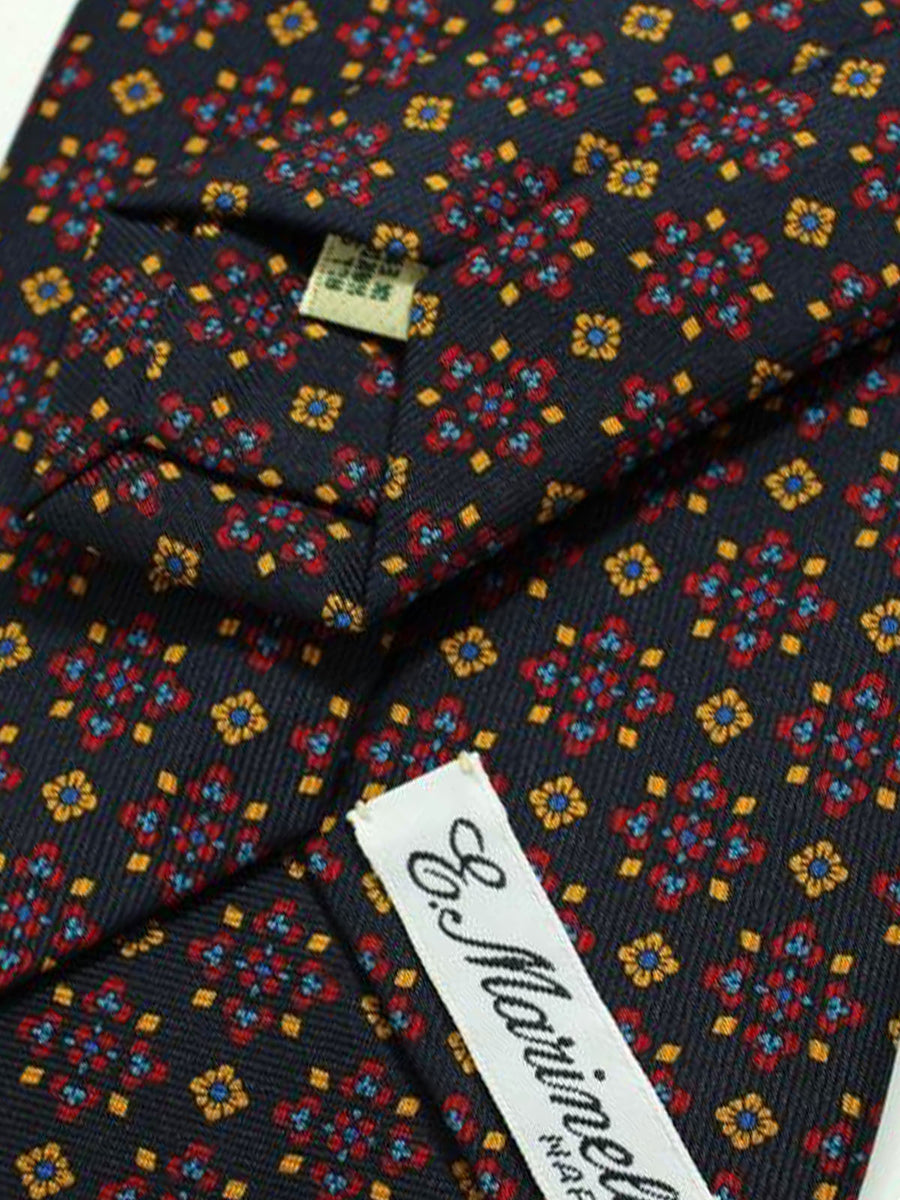 E. Marinella Tie Black Orange Gold Medallions Design - Wide Necktie