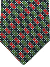 E. Marinella Tie Black Green Red Check Design - Wide Necktie