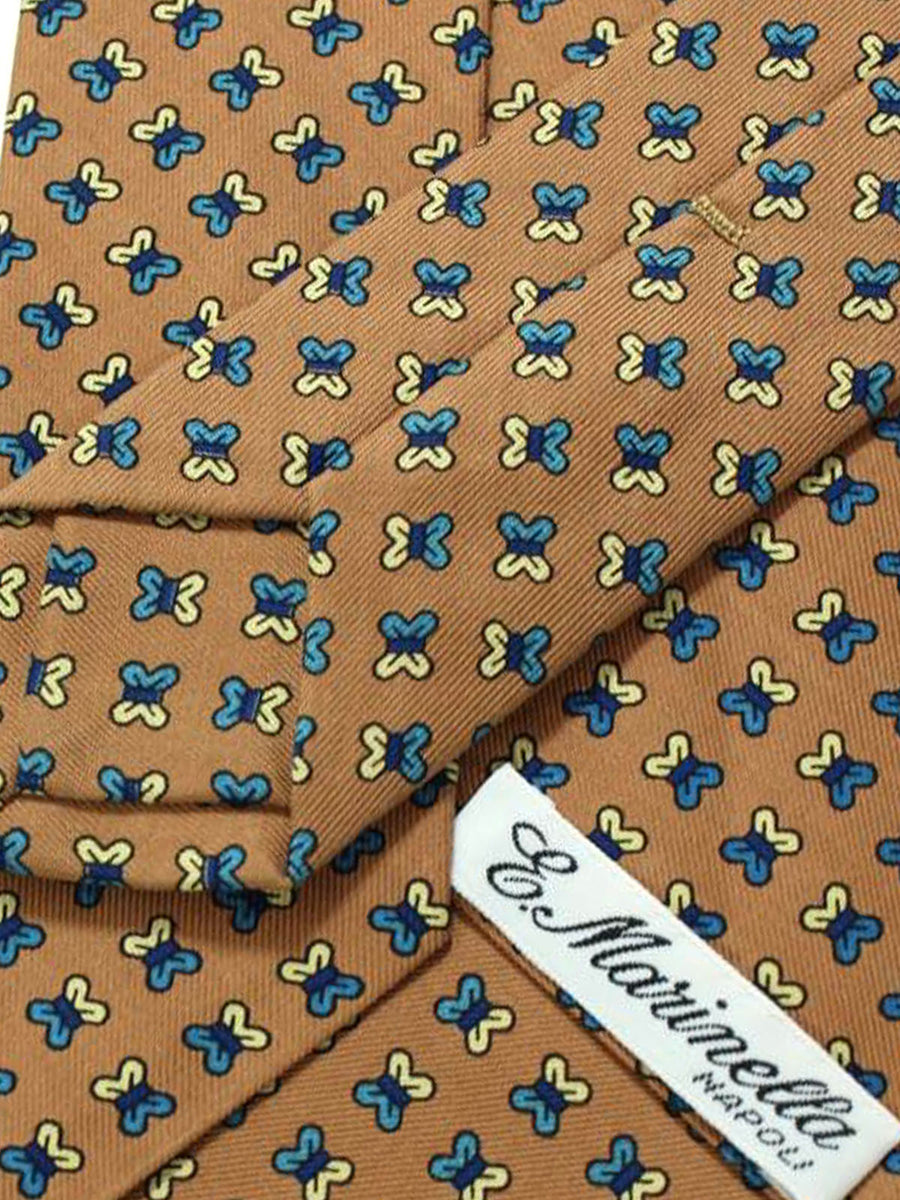 E. Marinella Tie Taupe Blue Navy Geometric Design - Wide Necktie