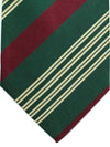 E. Marinella Silk Tie Maroon Green Stripes Design - Wide Necktie