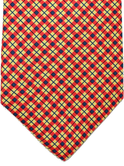E. Marinella Silk Tie Yellow Orange Navy Plaid Design - Wide Necktie