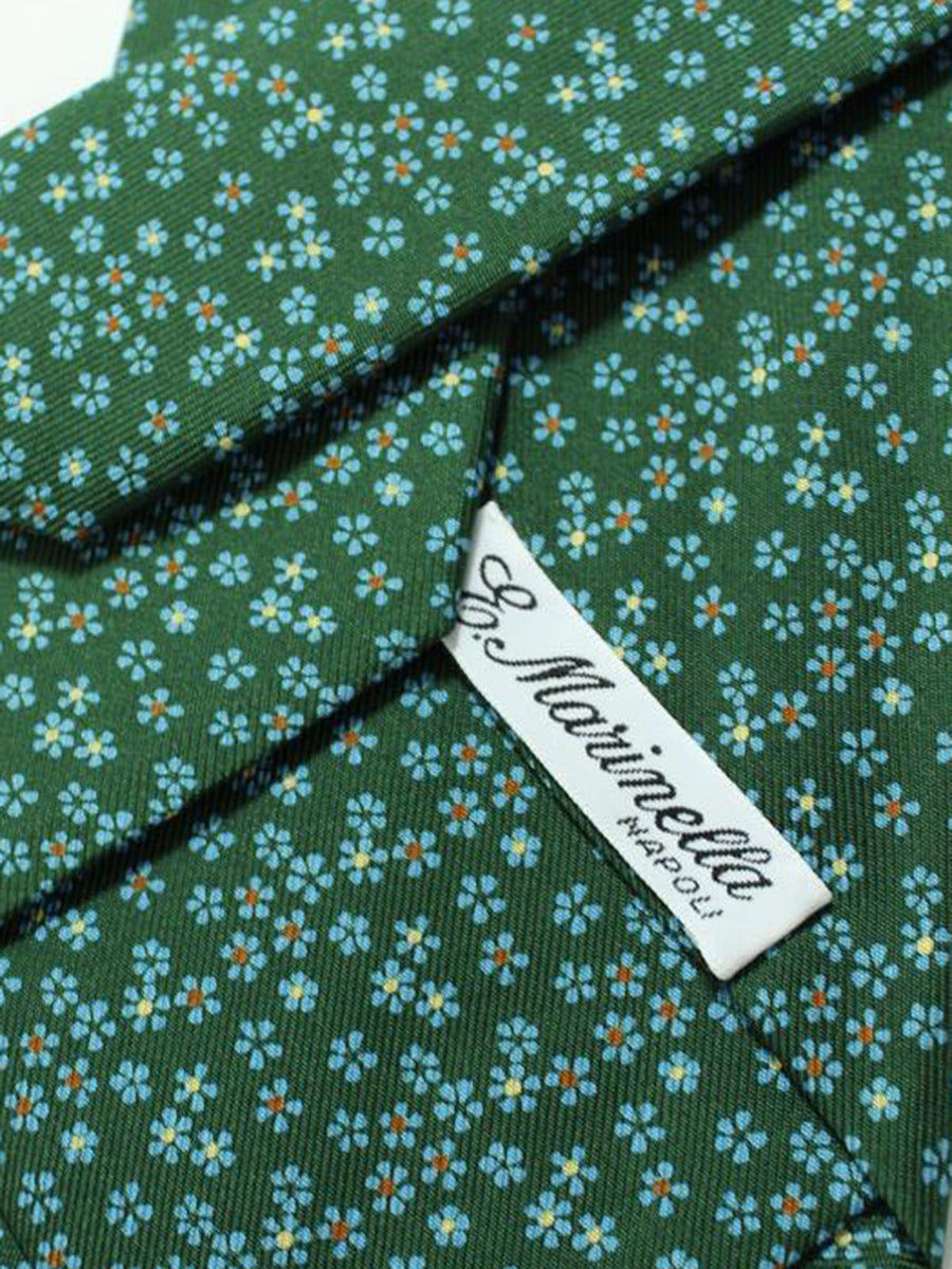 E. Marinella Silk Tie Green Blue Floral Design - Wide Necktie