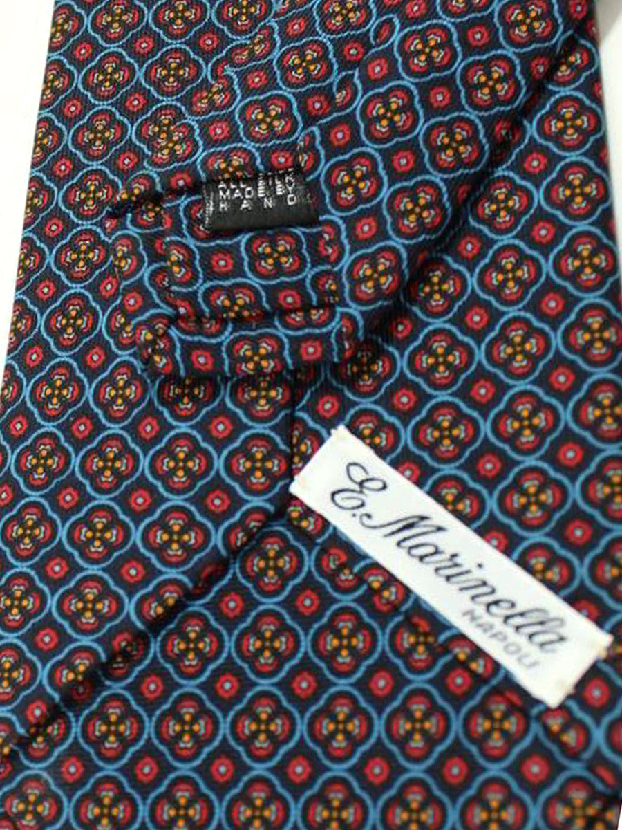 E. Marinella Tie Black Blue Red Geometric Design - Wide Necktie